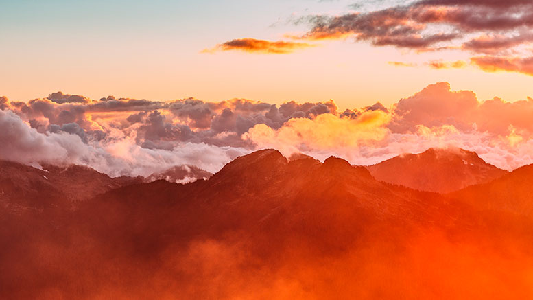 colorful clouds over the mountains